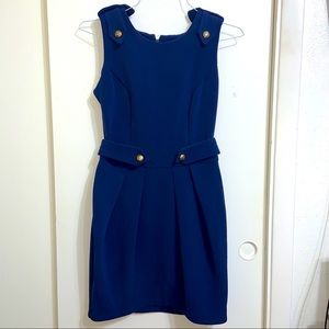ASOS Navy Blue Dress with Gold Accent Buttons